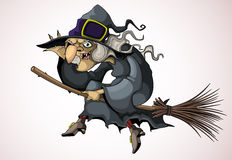 Witch flying on a broom Royalty Free Stock Image