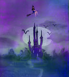Witch flying on a broom Royalty Free Stock Images
