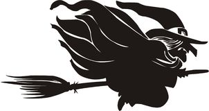 Witch flying on a broom Royalty Free Stock Photo
