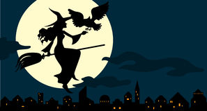 Witch flying on a broom Stock Image