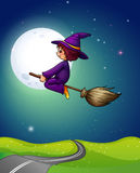 Witch flying Stock Photo