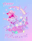 Witch flying on a broom decorative pastel goth background Stock Photos