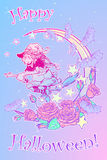 Witch flying on a broom decorative pastel goth background Stock Photo