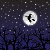 Witch flying on a broom on a full moon Royalty Free Stock Photos