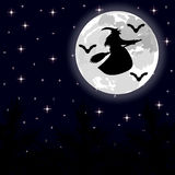 Witch flying on a broom on a full moon in the forest Stock Images