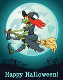 The witch flying on a broom at full moon Royalty Free Stock Photography