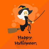 Witch Flying on Broom Halloween Costume Cartoon Royalty Free Stock Photography