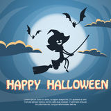 Witch Flying on Broom Halloween Costume Cartoon Royalty Free Stock Photos