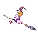 Witch flying on the broom Stock Photo