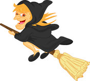 Witch flying on broom Royalty Free Stock Photography