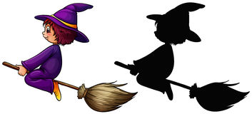 Witch flying on broom. Illustration Stock Images