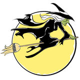 Witch Flying On Broom Royalty Free Stock Images