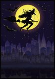 Witch flying on a broom in moonlight.  Royalty Free Stock Photography