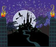 Witch flying on a broom in moonlight. Stock Photography