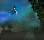 Witch flying on a broom in moonlight. Royalty Free Stock Image