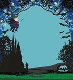 Witch flying on a broom in moonlight. Witch flying on a broom in moonlight, Vector Illustration Royalty Free Stock Photo