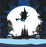 Witch flying on a broom in moonlight. Stock Image