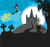Witch flying on a broom in moonlight Stock Images