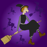 Witch flying on broom on purple background. Royalty Free Stock Photos