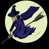 Witch flying on the broom Stock Images