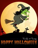 Witch flying on a broom Under Full Moon Vector Illustration For Happy Halloween Royalty Free Stock Photos