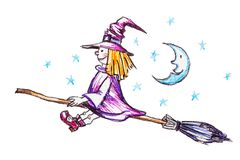 Witch flying on the broom Royalty Free Stock Photos
