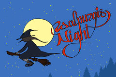 Witch flying on a broom through the Walpurgis Night sky with full moon Royalty Free Stock Photos