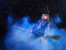 Witch flying on broomstick. Stock Photography