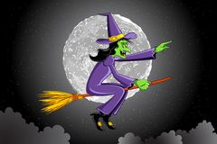 Witch Flying on Broomstick Royalty Free Stock Images