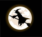 Witch flying on a broomstick Royalty Free Stock Photography