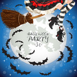 Witch flying on a broomstick banner Royalty Free Stock Photos