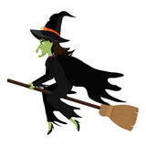 Witch flying with broomstick cartoon Stock Photos