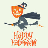 A Witch flying on a broomstick. Happy Halloween postcard, poster, background or party invitation. Vector illustration. Stock Photo