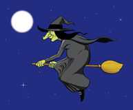 Witch flying on brooom Stock Image