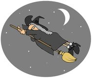 Witch flying fast vector illustration