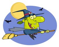 Witch flying fast on her broomstick Stock Photo
