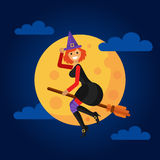 Witch flying in front of a full moon Stock Image