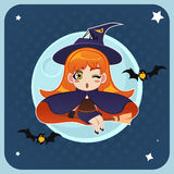 Witch Flying in Front of the Full Moon with Magical Broom Stock Images