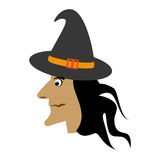 Witch flying halloween card Royalty Free Stock Images