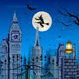 Witch flying on Halloween Night. Illustration of witch flying above building on halloween night Royalty Free Illustration