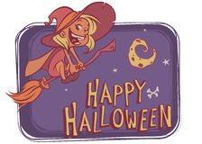 Witch flying on her broom on bight background with funny moon.  Vector illustration for Halloween poster or party invitation Royalty Free Stock Photo