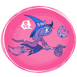 Witch flying on her broom isolated. Vector illustration for Halloween poster or party invitation. Stock Photo