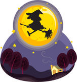 Witch flying. Illustration of bewitch on a white background vector illustration