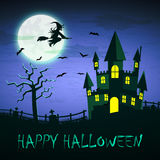 Witch flying on a magic broomstick over the spooky haunted castl Royalty Free Stock Images