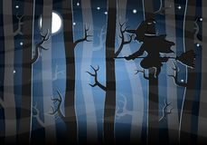 Witch flying at night through the forest Royalty Free Stock Photos