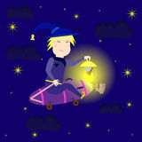 Witch flying at night on the vacuum cleaner Stock Images