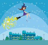 Witch flying over the city Stock Photo