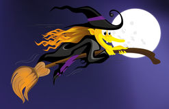 Witch flying over a dark sky Royalty Free Stock Image