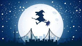 Witch Flying Over the Moon. Illustration Royalty Free Stock Photos