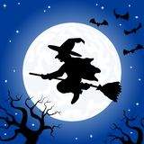 Witch flying over the moon Stock Photos